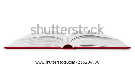 open book in a red cover on an isolated white background - stock photo