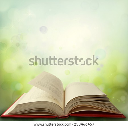 Open book in front of green background