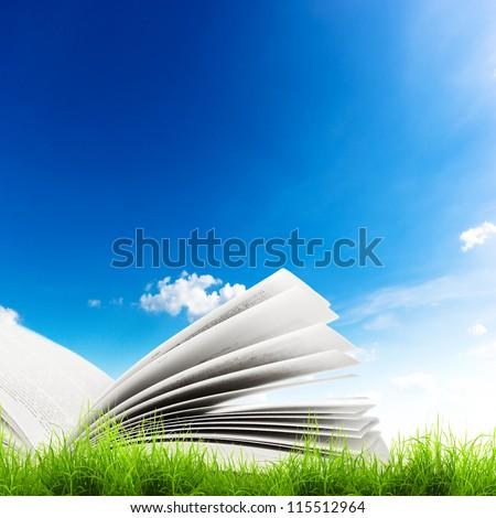 Open book in green grass over blue sky. Magic book - stock photo
