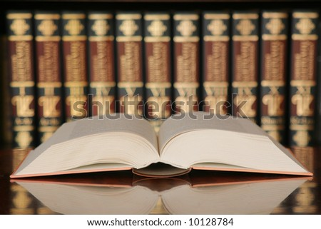 Open book in library - stock photo