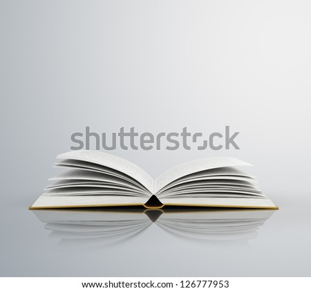 open book isolated on gray