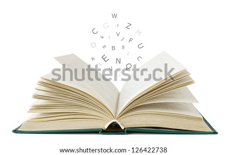 Open book isolated on white and letters flying away.Education concept - stock photo