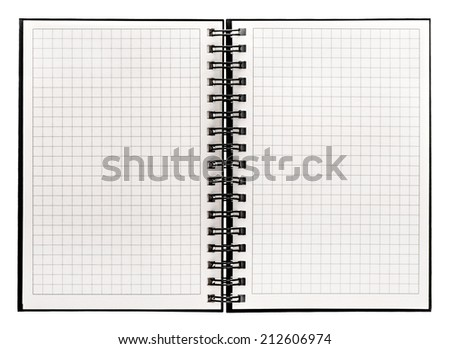 open book isolated on white background. notebook with spiral binder and math paper - stock photo