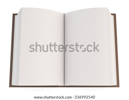 Open book isolated on white background. Top view. 3d illustration.