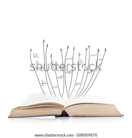 Open book isolated on white background with reflection - stock photo
