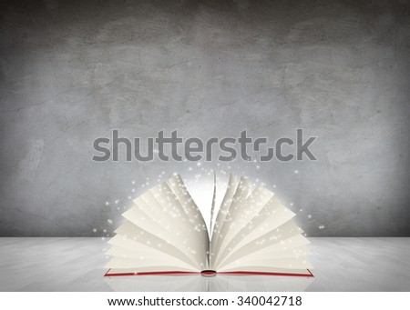 Open book lying in the gray room