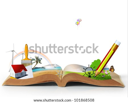 open book of fantasy stories   isolated on white background - stock photo