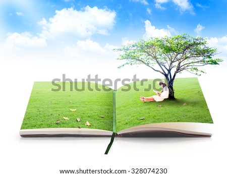 Open book of nature. Girl Tree Encourage CSR Ecosystem Teacher Time Earth Hour Women Autism Awareness Page Album Read School System Plant Recycle Ecology Idea Study Program Wisdom Design Paper concept - stock photo