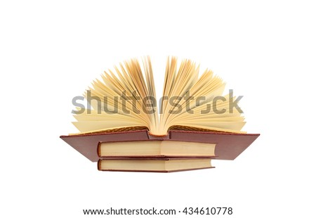 Open Book on stack of books isolated on white background - stock photo