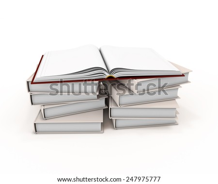Open book on stack of books isolated on white background. 3d render image.