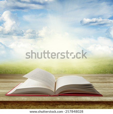 Open book on table in front of grass and sky - stock photo