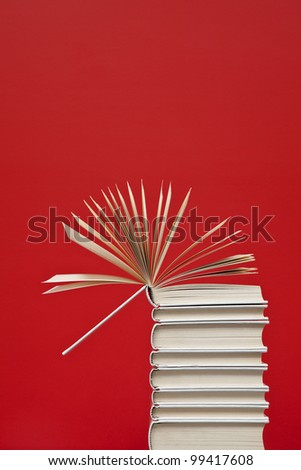 Open book on top of a column of white books - stock photo