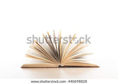 Open book on white background. Education concept. Back to school