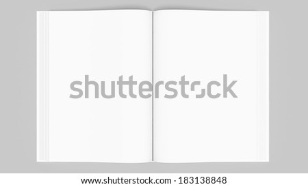 Open book or magazine, top view - stock photo
