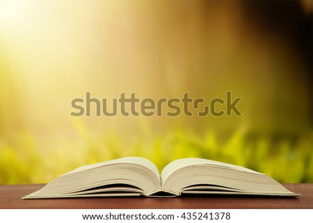 Open book over the landscape background - stock photo