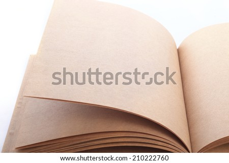 open book paper blank on white background - stock photo