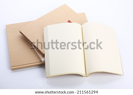 open book paper blank on white table - stock photo