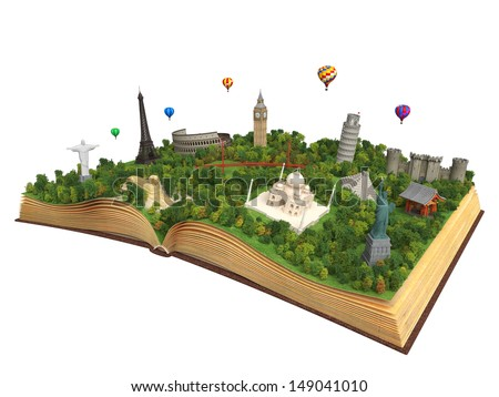 open book showing 3D representations of famous landmarks in the world, concept for travel and tourism isolated on white background and with clipping path - stock photo