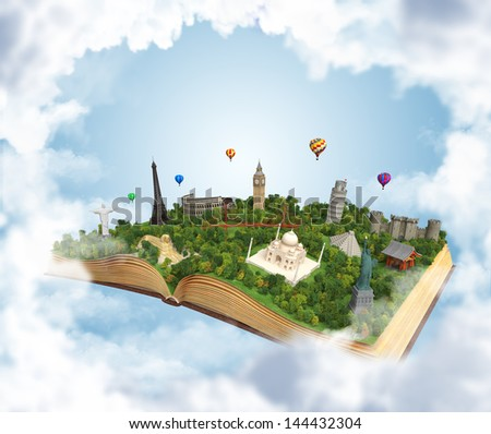 open book showing 3D representations of famous landmarks in the world, concept for travel destiny - stock photo