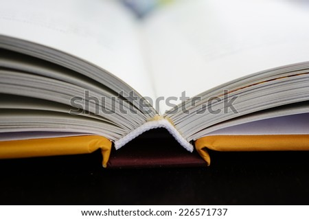 Open book standing on table