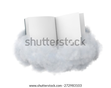 Open book  with a blank pages in a cloud isolated on white.