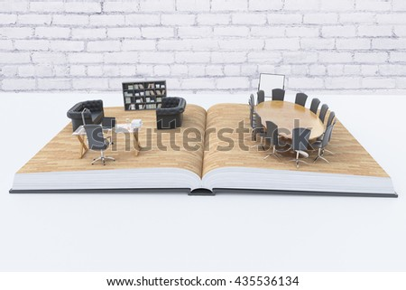Open book with abstract office interior on white desktop with white brick wall in the background. 3D Rendering - stock photo