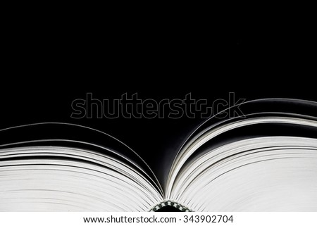 Open book with black background