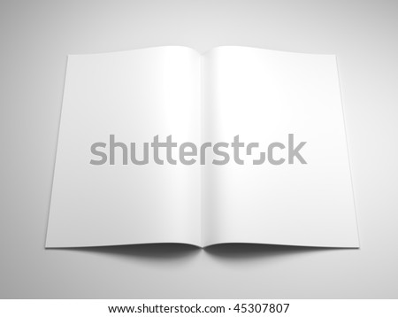 open book with blank pages 3d rendering
