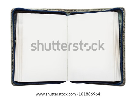 open book with blank pages isolated on white - stock photo