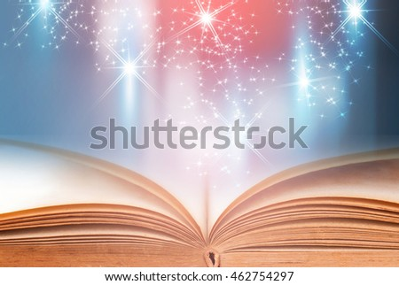 Open book with blue abstract technology background