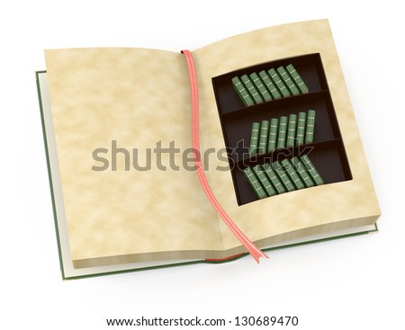 open book with bookcase inside isolated on white. 3d rendered image