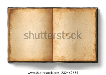 Open book with empty old worn pages on white background - stock photo