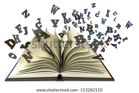 Open book with falling letters. Isolated on white background. 3d render - stock photo