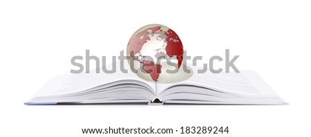 open book with glass globe isolated on white background - stock photo