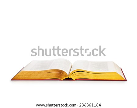 Open book with gold pages isolated on white background. Religion themes. Object with clipping path