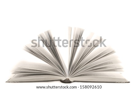 Open book with isolated on white background - stock photo