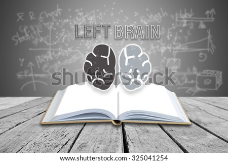Open book with LEFT BRAIN analyzed concept
