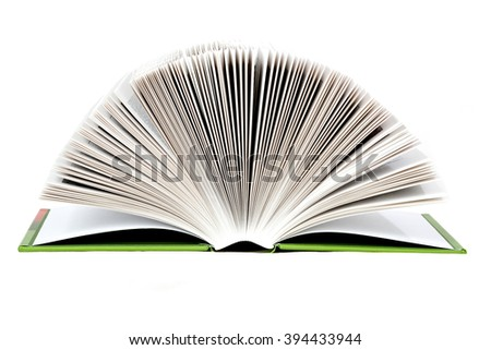 open book with light page roll isolated on white