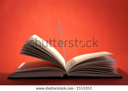 Open book with pages on red background - stock photo