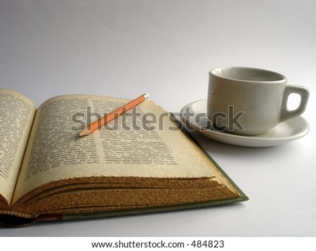 open book with pencil - stock photo