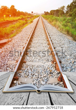 Open book with rail way - stock photo