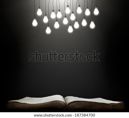 Open book with shining lamps. grunge education concept - stock photo
