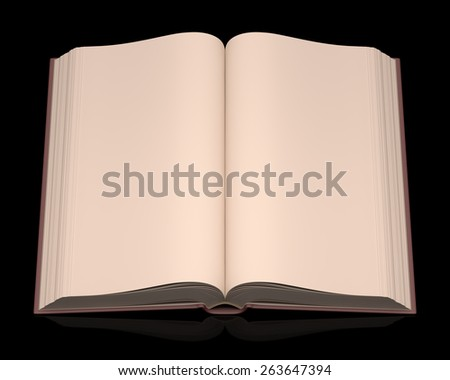 Open book without scriptures on top of a black background. Clipping path included. - stock photo