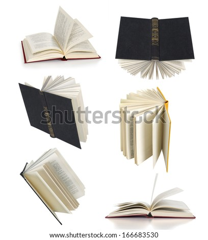 open books collection isolated on white - stock photo