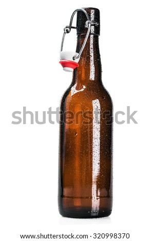 open bottle of beer on a white background  - stock photo