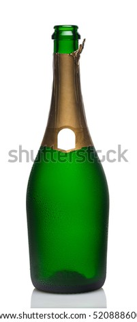 open bottle of champagne on a white background