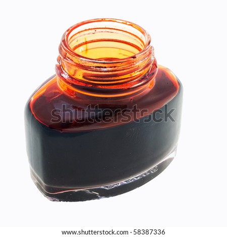 Open bottle of red ink isolated on white - stock photo