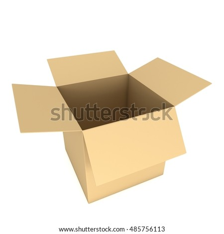 Open box. 3d render illustration isolated on white. Transportation concept.