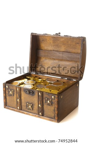 Open box full with gold euro money