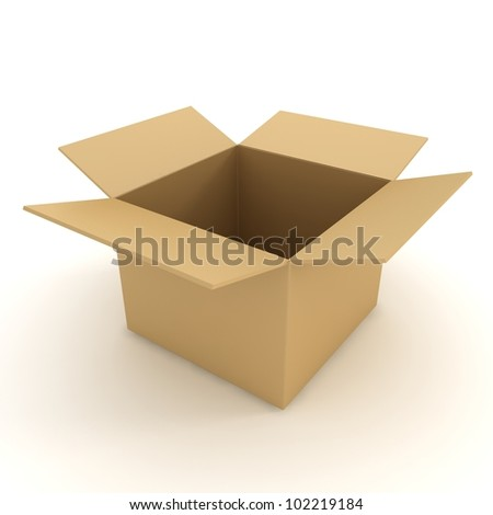 Open box isolated on white. 3d illustration - stock photo